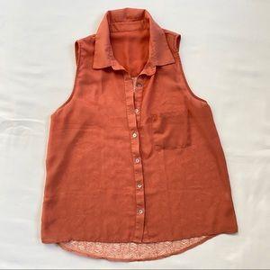 3/20$ Blush Lace Back Button up Blouse